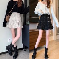 Ruffle Hem Plaid Tweed Skirt / Rok Wanita Murah / Rok Mini Korea