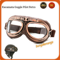 Kacamata Google Pilot Retro Nordson Clear Goggle Helm Aviator Harley