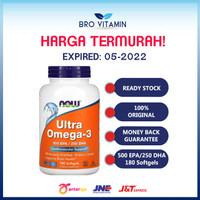 NOW FOODS ULTRA OMEGA-3 OMEGA 3 FISH OIL OMEGA3 DHA EPA - 180 SOFTGELS