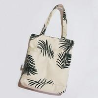 Tote Bag Kanvas Motif Palm Leaf || Resleting & Furing