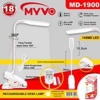 Lampu Meja Belajar Sentuh Jepit LED Recharge Cas Flexible Myvo 1900