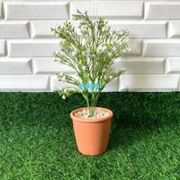 Bunga Plastik Baby Breath Putih Vas Ember Merah Bata Artificial Rumah