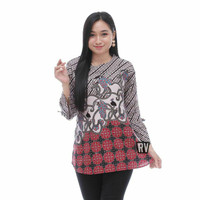 blouse batik wanita lengan panjang/baju kantor/blouse terbaru terlaris