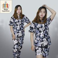 3 IN 1 - Piyama Baju Tidur Wanita Remaja Dewasa Motif Bunga - LD 100