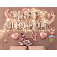 Exclusive Foil Balloon LED Happy Birthday SET Pink Cake / Ulang Tahun