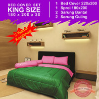 Set Bed Cover 2 Warna - Green Pink - King Size 180 x 200