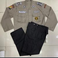 seragam security PDL terbaru/baju satpam PDL terbaru - coklat, M