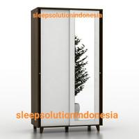 PROMO Pro Design Lemari pakaian 2 pintu sliding kaca brown white kaki