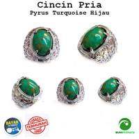 Batu Cincin Akik Pirus Hijau Urat Emas Keren Mewah Green Turquoise