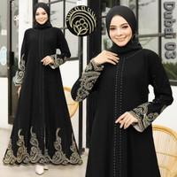 Baju Dress Abaya Muslim Gamis Arab Hitam kode dubai 03 by Noer Abaya