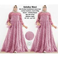 Gamis Maxi / Baju Wanita Muslim Anisha Jumbo Moscrepe kombi Brukat HQ