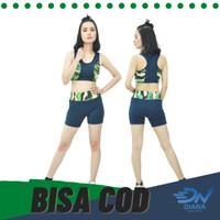 Setelan baju senam olahraga wanita motif army sport bra dan celana - S