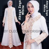 Baju Dress Abaya Muslim Gamis Arab Putih kode zoya by Noer Abaya