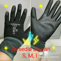Sarung tangan Safety Grip Gloves Nylon Polyurethane / Safety Riding K3 - Hitam, S