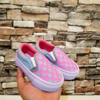 Sepatu anak perempuan Vans Slipon Abu/Pink (Premium)Size 16-35