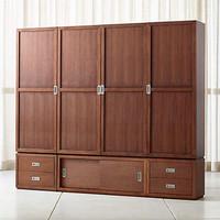 Lemari pakaian 4 pintu minimalis kayu jati wood door armoire