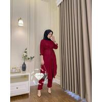Setelan Tunik Celana Wanita Set Baju Kemeja Kulot Busui kancing Casual