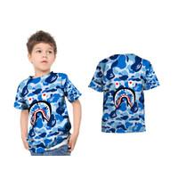 Kaos Anak Unisex BAPE SHARK 3D FullPrint / T-Shirt Bape Shark - ART 1, S