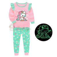 Baju Tidur Menyala Dalam Gelap Piyama Unicorn Pink Lengan Panjang Anak