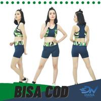Setelan baju senam olahraga wanita motif army sport bra dan celana