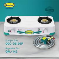 Paket Quantum Kompor Gas 2 Tungku QGC 201 DEP dan Selang Regulator Gas