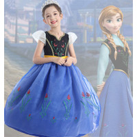 Frozen Anna Elsa Disney Princess Kostum Impor Dress Baju Pesta - 140