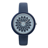 Giordano GD-2148-01 Ladies Flower Motif Blue Dial Navy Leather Strap