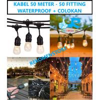 Kabel Fitting Gantung Lampu Outdoor Taman 50 Fitting - 50M 50 Meter