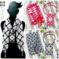Kalung Batik Wanita Syal Panjang & Anting