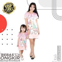 Baju Anak dan Ibu Couple Unicorn Dress Wanita/perempuan bahan scuba