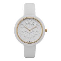 Giordano GD-2148-03 Ladies Flower Motif White Dial White Leather Strap