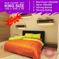 Set Bed Cover 2 Warna - Kuning Orange- King Size 180 x 200
