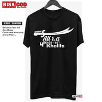 Kaos Dakwah Islami Tulisan 4TH KHALIFAH Baju Hijrah Pria Premium