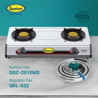 Paket Kompor Gas 2 Tungku QGC 201 EMS & Selang Regulator QRL 032