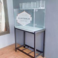 Paket Lengkap Aquarium + Rak + Top filter kaca 80x40x50 cm Full 8 mm