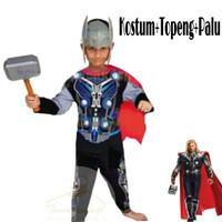 baju kostum karakter anak/baju superhero/kostum thor gratis palu