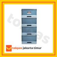 Lemari Laci Plastik Lion Star Susun 4 Excel Container M 4 XC 9 Kabinet - Biru