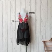 SKA206 Sexy Lingerie Hitam Dress - Baju Tidur Tipis Transparan Wanita