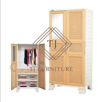 Napolly Lemari Plastik Pakaian Gantungan+Cermin Big Cupboard BCR