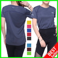 NIKE - ADIDAS Kaos Olahraga Wanita Baju Senam Dry Fit Lari Fitness Gym