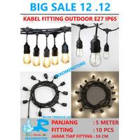Kabel Fitting Gantung Lampu Outdoor Taman 10 Fitting - 5 Meter PROMO !
