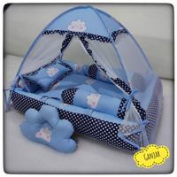 bantal guling bayi kelambu lipat set kasur baby nest kolam motif awan
