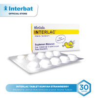 Interlac Probiotik Tablet Kunyah Strawberry - 3 blister @10 tablet
