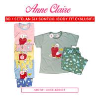 Piyama Babydoll Anne Claire Lengan Pendek - Celana 3/4 Bodyfit