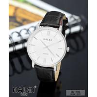 TERMURAH bisa COD Jam tangan pria original HALEI 546 kulit tahan air - black-S-white