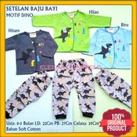 Baju Bayi Baru Lahir Laki 0-3 Bulan Setelan Baju Celana Dinosaurus