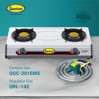 Paket Kompor Gas 2 Tungku QGC 201 EMS & Selang Regulator QRL 142