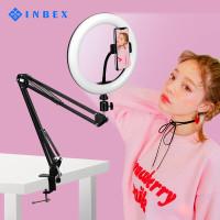 INBEX 26CM Ring Light+Cantilever Tripod+Phone Holder Arm Stand Tripod