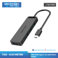 Vention USB Hub Type C 3.2 with Micro Power for Android Windows Mac - TGK 0.15M