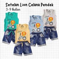 Baju Setelan Anak Bayi Laki Kaos Kutung Lion Celana Denim 3-9 bulan